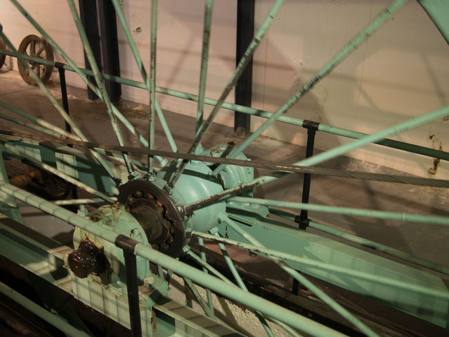 Close up of an old cable car wheel Cable Car Historic Mechanical Metal Wheel Vintage