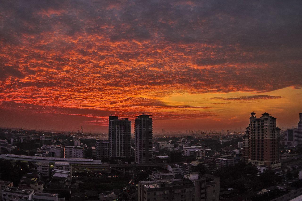 Sunset in Bangkok Cloud - Sky Sunset Sky City Cityscape Dramatic Sky Urban Skyline Thailand Bangkok Thailand. Bangkok ASIA Orange Color City Life