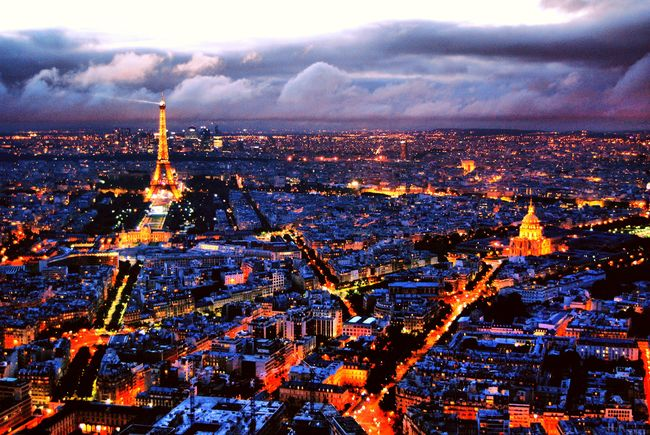 Paris Paris, France  Roof Top View  View From The Roof Top TourMontparnasse Cities At Night City Night Life Paris Sunset Paris At Night Eiffel Tower By Night Eiffel Tower From Afar I Love Paris Paris Trip City Sunsets Beautiful Cities Landscapes