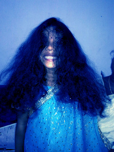 Lil Girl Having Fun !! Free Hair Cut Fun Girl Girl In Blue Dress Horror Leisure Activity Let Your Hair Down Lifestyles Scary Smile