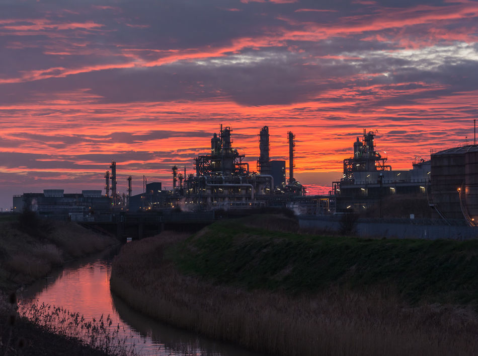 Environment Factory Industry Night No People Petrochemical Plant Refinery Sky Sunset Technology