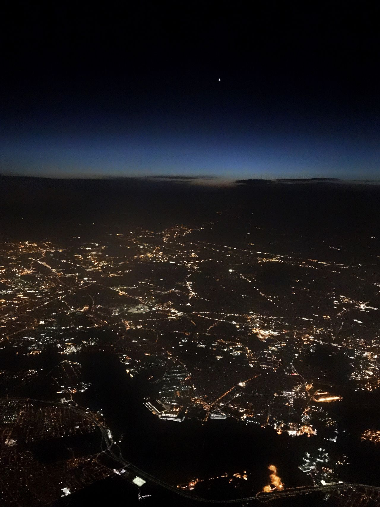 Cityscape at night from above. Night Aerial View Cityscape City Sky Scenics No People Illuminated Outdoors Astronomy Star Atmospheric Mood