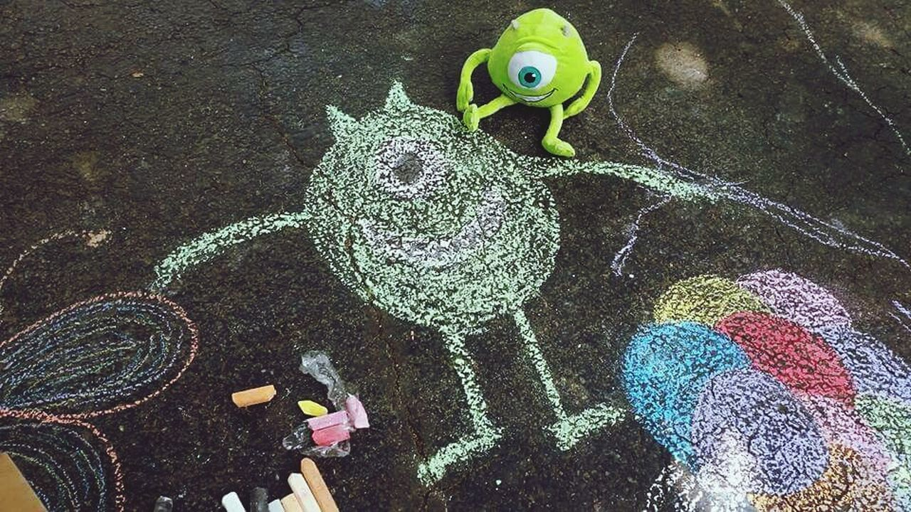 Chalk Outdoors No People Monster Inc. Drawing Drive Way Color Doodle