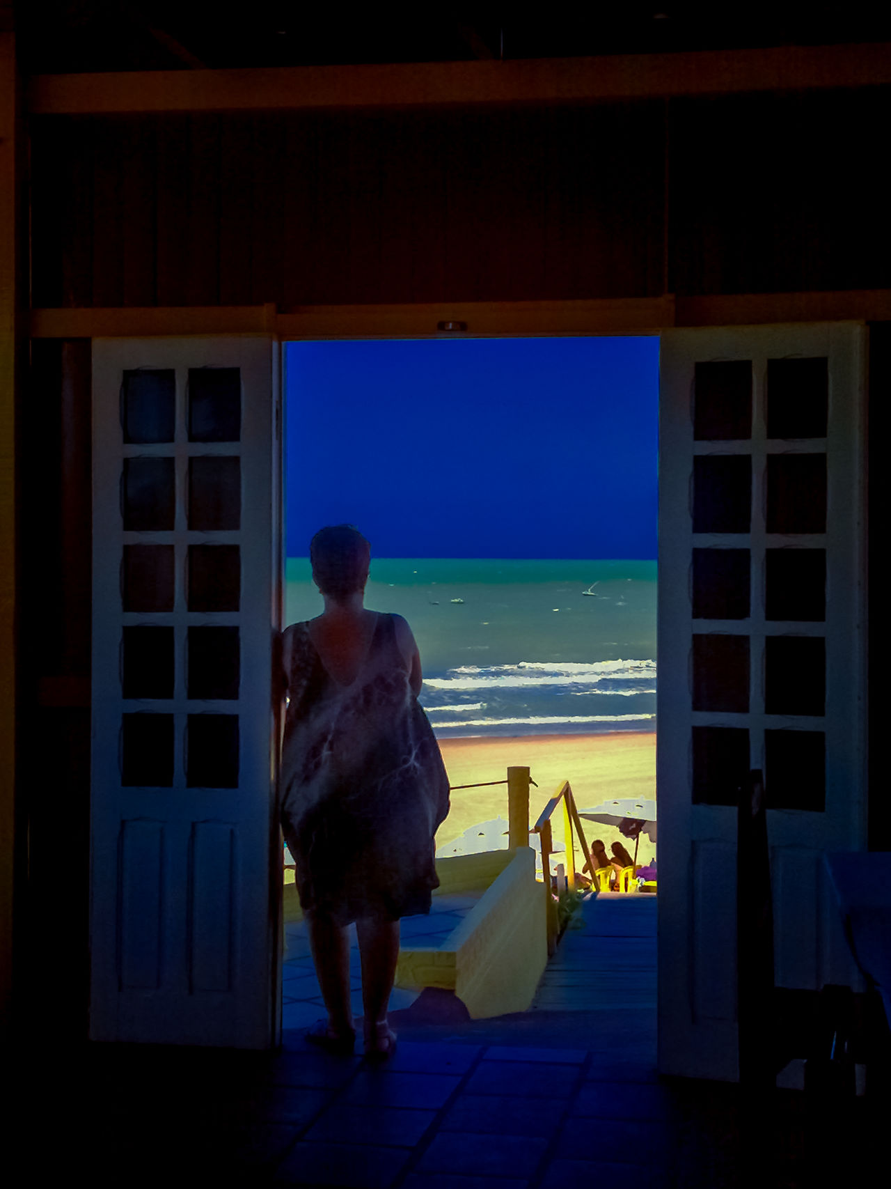Gazing At The View Beauty In Nature Blue Sky Green Sea Nice Day Nice View One Person Rear View Sea Silhouette Standing Canoa Quebrada-CE