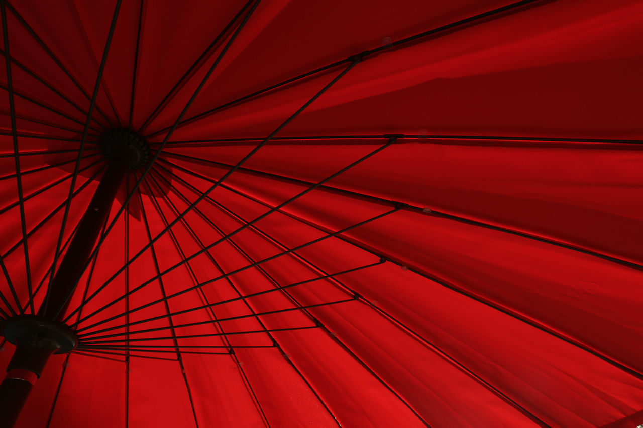 Light And Shadow Low Angle View Minimalism Monochrome Red Shelter Simplicity Umbrella
