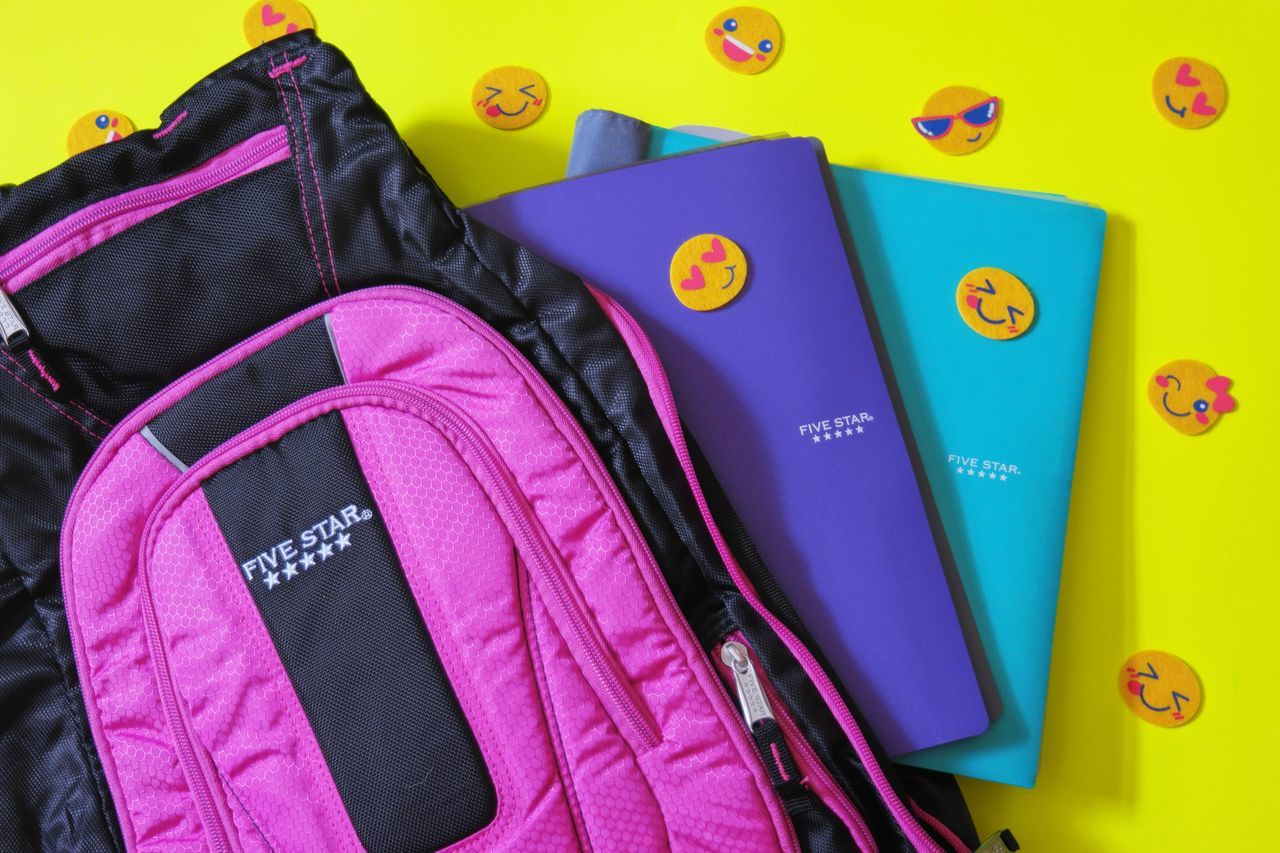 Text Indoors  Pink Color Multi Colored No People Close-up Day Supplies School Backpack