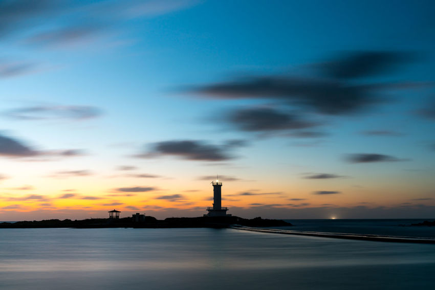 ASIA Jeju Korea Lighthouse Magic Hour Architecture Beauty In Nature Building Exterior Built Structure Cloud - Sky Day Landscape Nature No People Outdoors Scenics Sea Sea And Sky Silhouette Sky Sunset Travel Destinations Water Waterfront EyeEm Ready   EyeEmNewHere