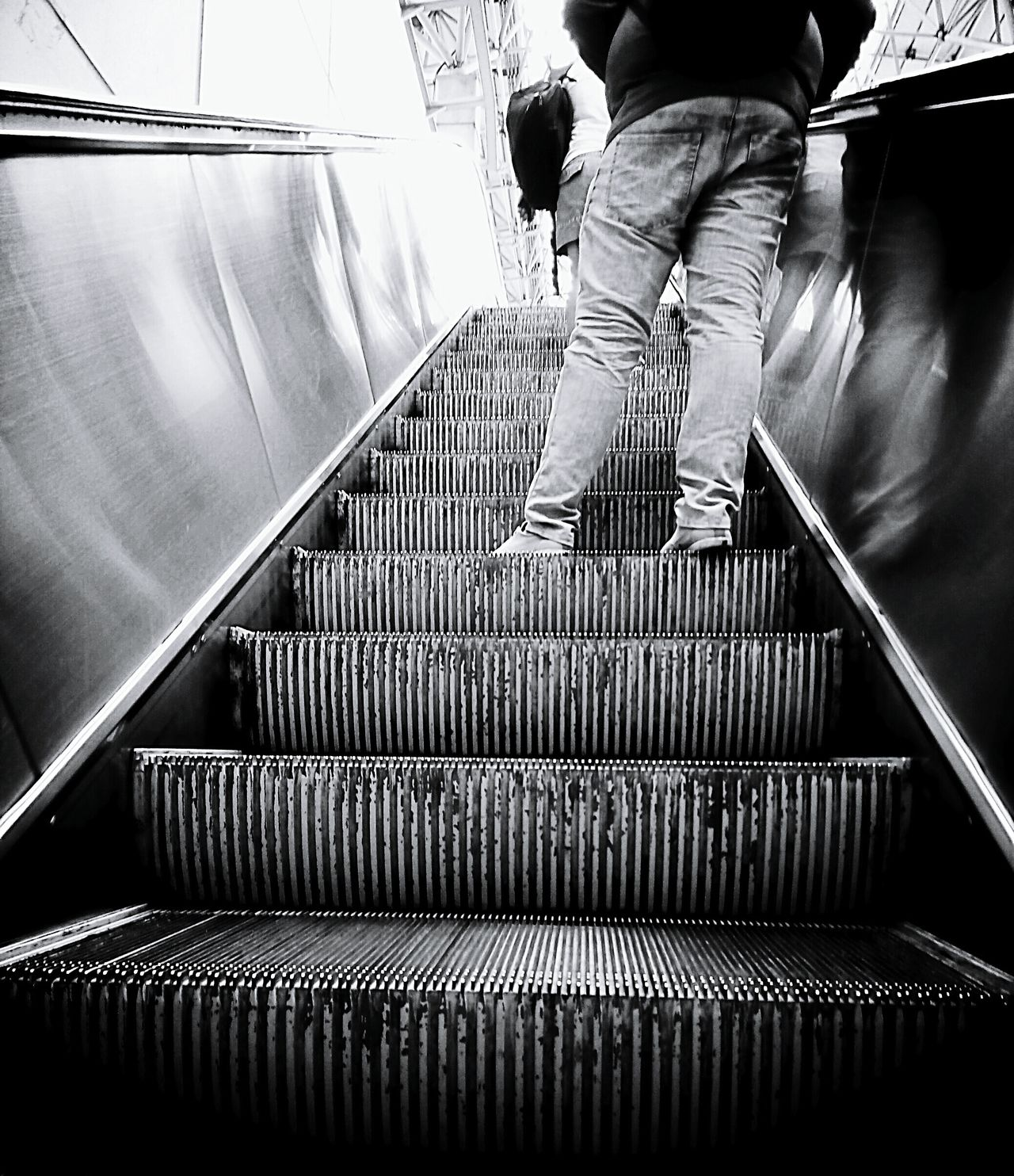BYOPaper! Staircase Steps And Staircases One Person Human Body Part Indoors  Steps Steel One Man Only Day Escelator Blackandwhite Photography