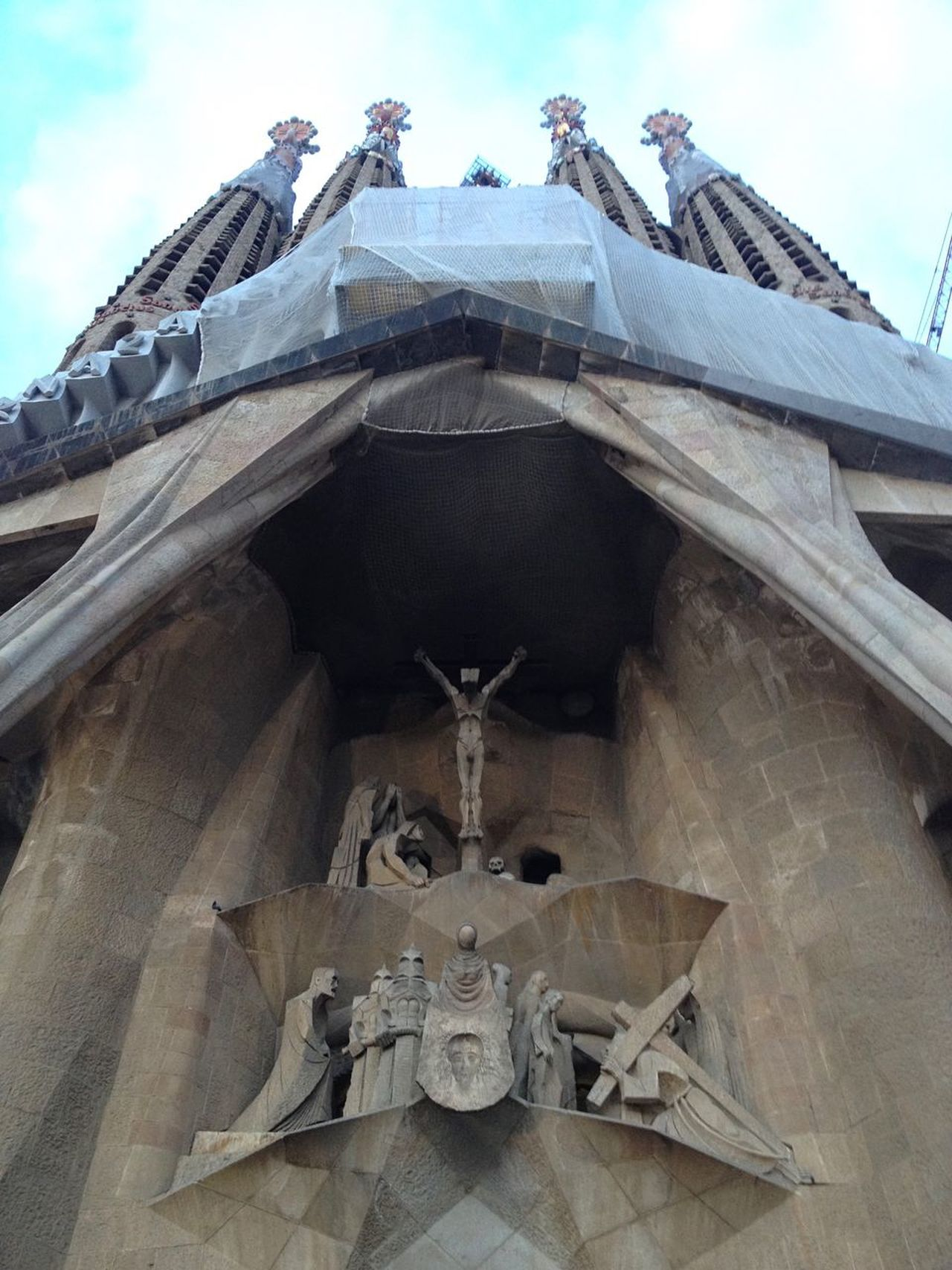 Sagrada Familia Gaudi Barcelona Religion Spirituality Architecture Built Structure Place Of Worship Low Angle View Building Exterior Cross Statue Sculpture No People Sky Outdoors Neighborhood Map The Architect - 2017 EyeEm Awards EyeEm Gallery EyeEm EyeEmNewHere
