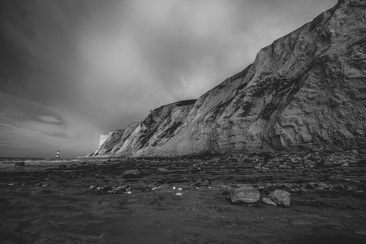Sky Tranquil Scene Tranquility Nature No People Outdoors Scenics Day Water Beauty In Nature Mountain Blackandwhite Beachy Head Black And White
