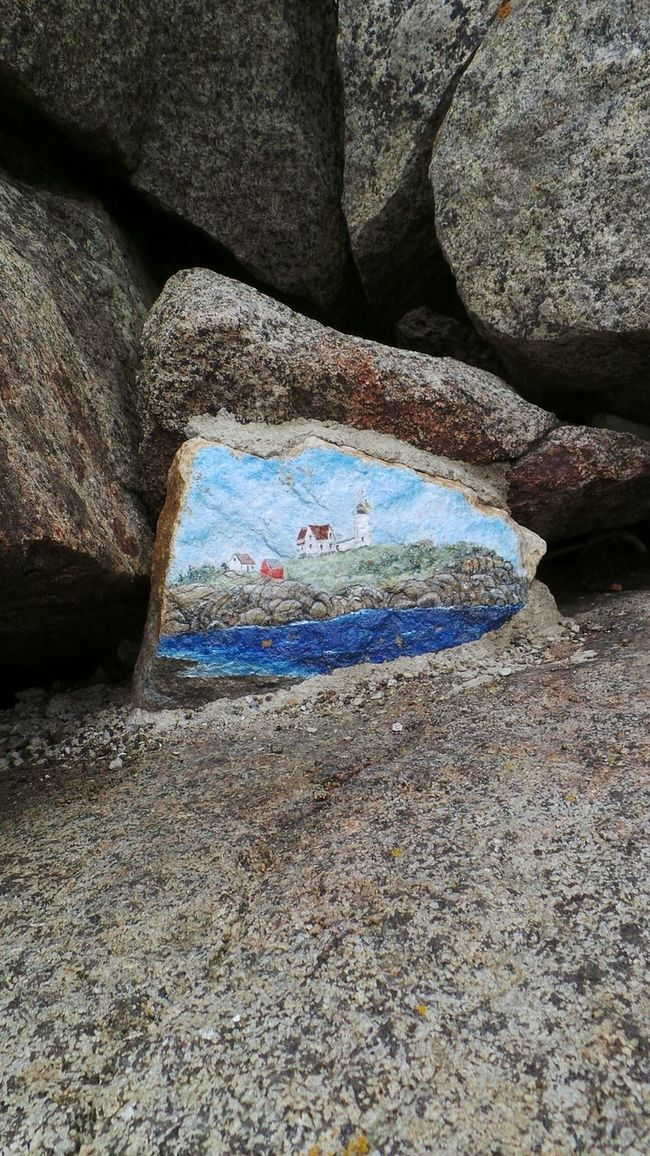 Enjoying The Sun RelaxingStone On A Cliff Permanent Artistic Expression Beautiful Nature OpenEdit Painted Rocks