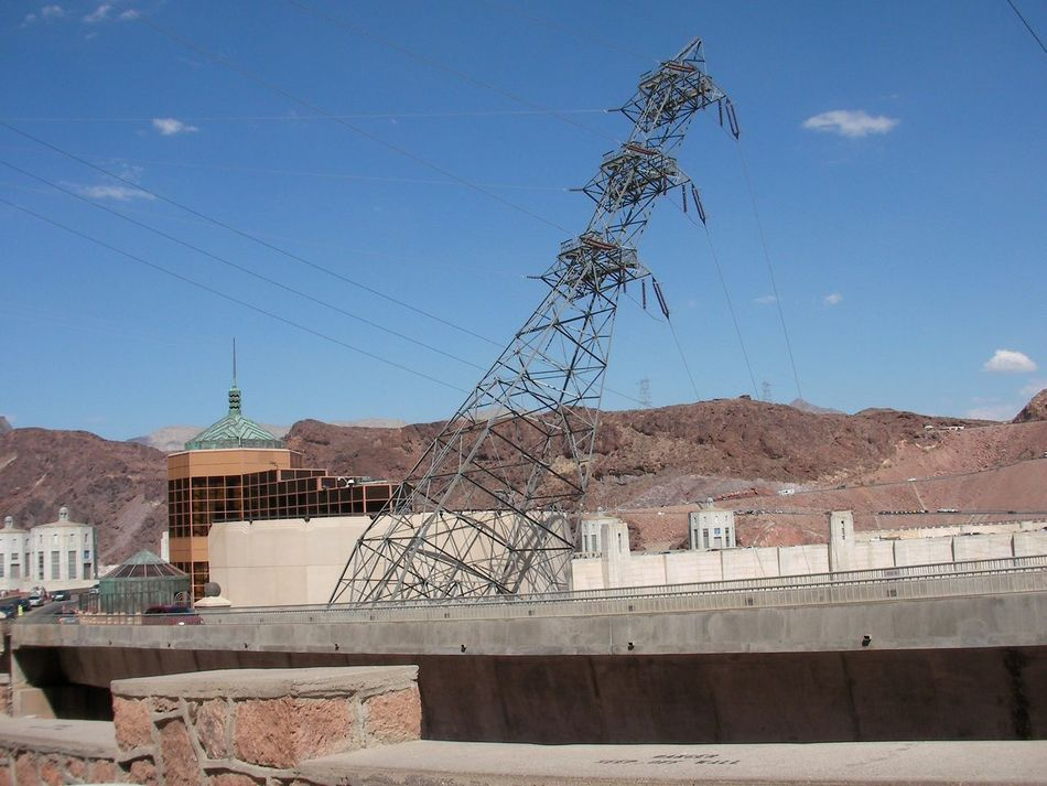 America Architecture Building Exterior Built Structure City Connection Day Electricity  Hoover Hoover Dam Hoover Dam Bypass Bridge Hooverdam Low Angle View Manmade Nevada NEVADA, USA!♡ No People Outdoors Power Line  Sky Structure United States USA USA Photos USAtrip