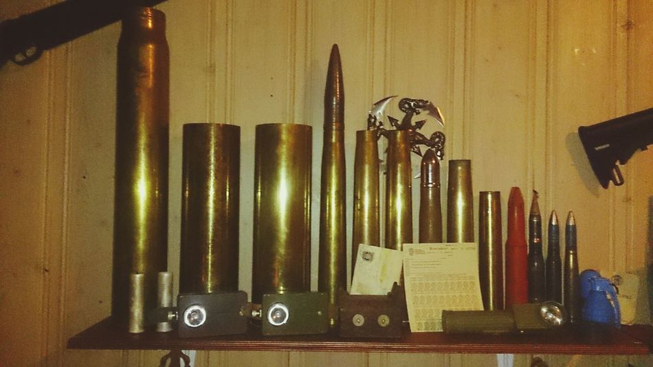 a small collection of various artillery shell. Guns Weapon Artillery My Weapon
