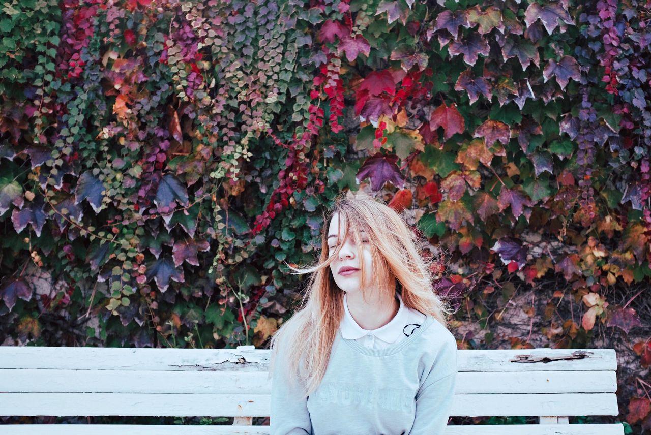 FujiX100T Fujifilm_xseries Outdoors Autumn Autumn Colors Autumn Leaves Portrait Portrait Of A Woman Portrait Of A Friend Portraits Portrait Photography PortraitPhotography Girl Beauty In Nature Beauty Blond Hair VSCO Autumn Eyes Closed  Long Hair Blonde