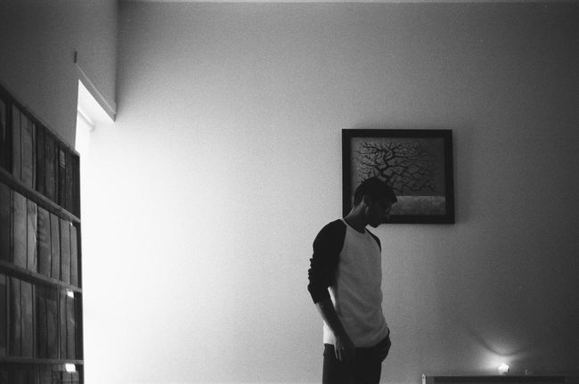 Monochrome Photography colour me in Standing Indoors  Illfordhp5 35mm Film Portrait