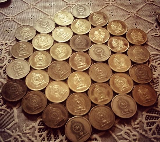 Coin Collection Gold Coins Coins Rupees Coins On The Table Sri Lanka