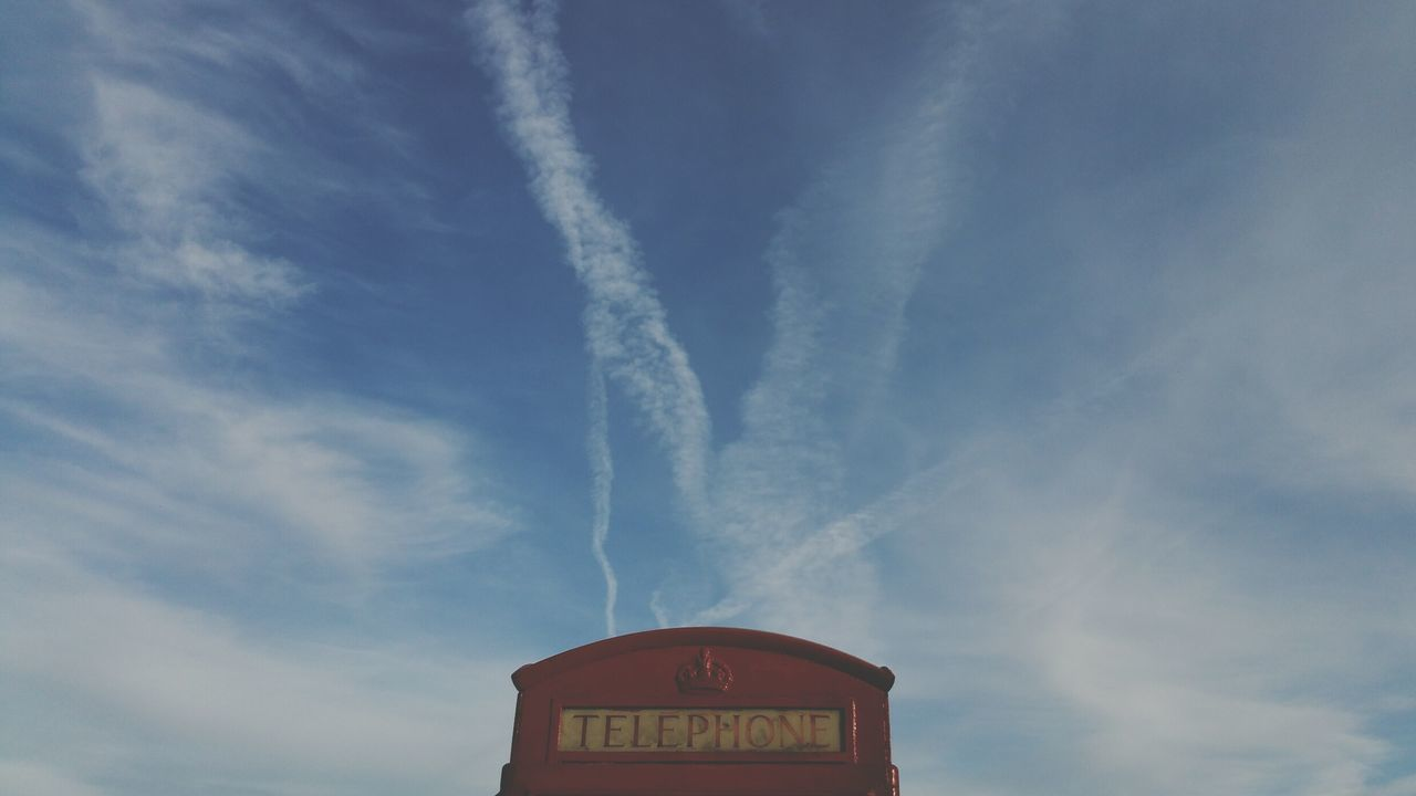 communication, text, low angle view, danger, sky, day, no people, outdoors, vapor trail