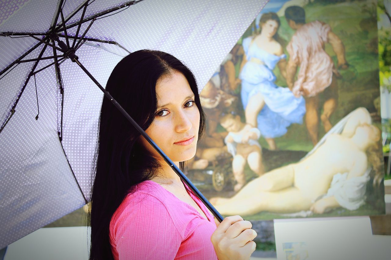 Pretty Woman Bonita Mujer Umbrella Sombrilla Cabello Largo Black Hair First Eyeem Photo Woman Face Woman Mujer Beauty The Portraitist - 2016 EyeEm Awards