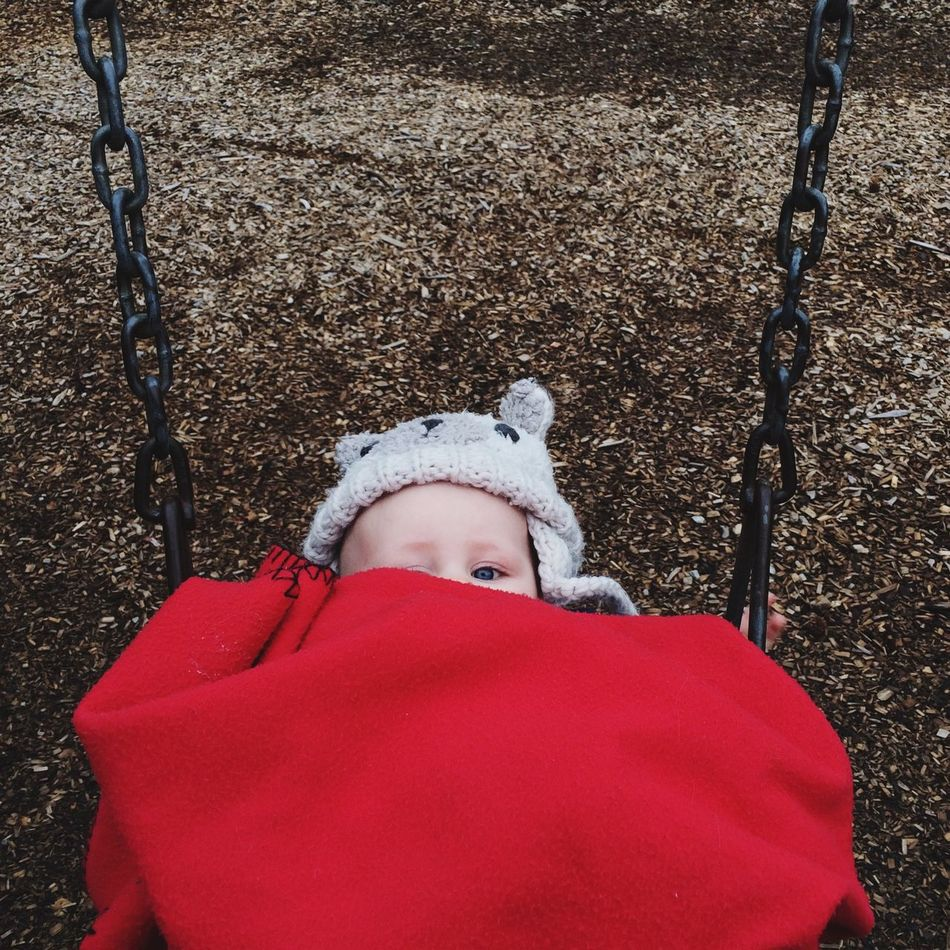 Autumn Baby Babygirl Park Peekaboo Red Swings Swingset