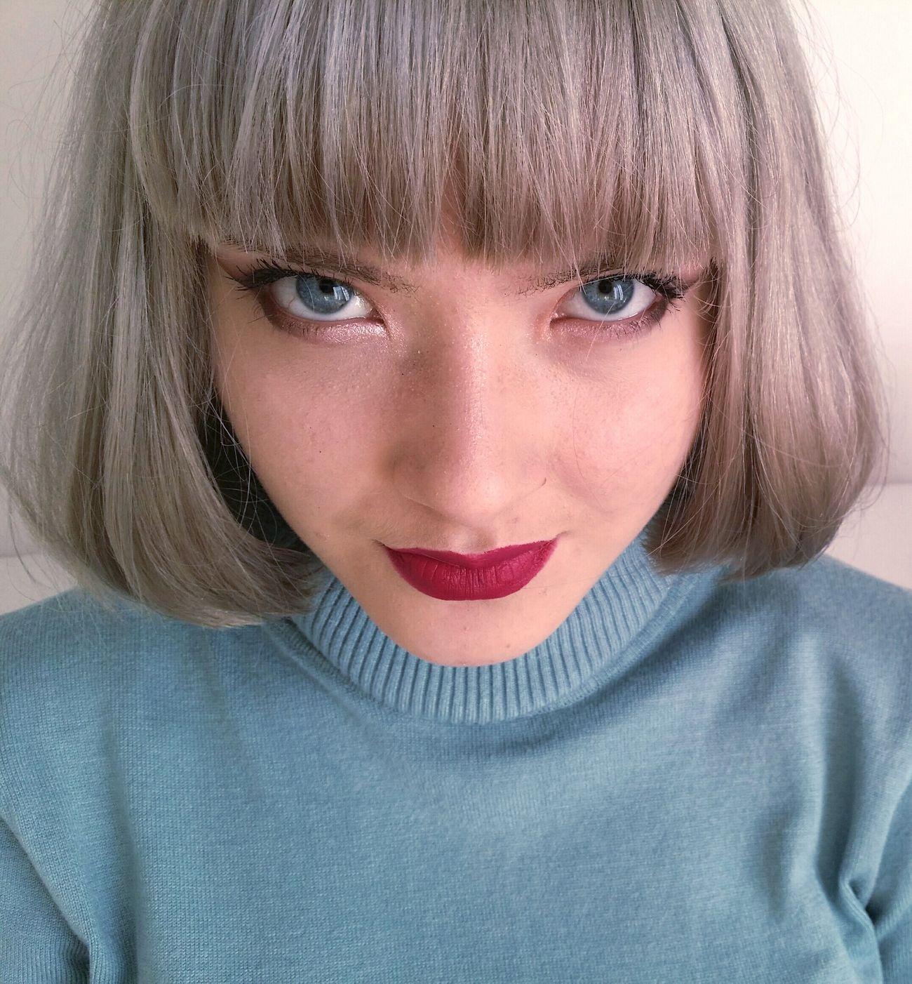 Eyes Blue Eyes Grey Hair Close Up Headshot Person Portrait Bangs Looking At Camera Silver Hair Taking Photos Hello World Pageboy