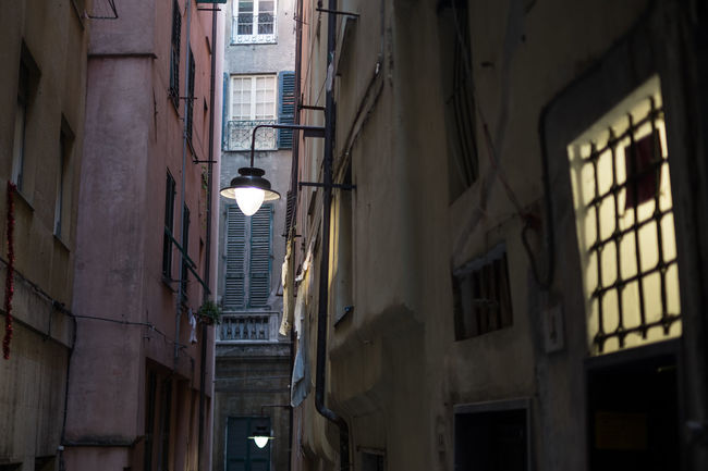 Historic city Center- Genoa - Italy Alley Architecture Building City Life Damaged Historic Historical Building Historical Center Light Narrow Perspective Street Lamp
