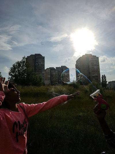 Beauty In Nature Multi Colored Bubbles Sofia, Bulgaria Galaxy S7 Edge EyeEm Best Shots The Great Outdoors - 2016 EyeEm Awards The Essence Of Summer Kids Bubble Gun Sunshine Girl Power