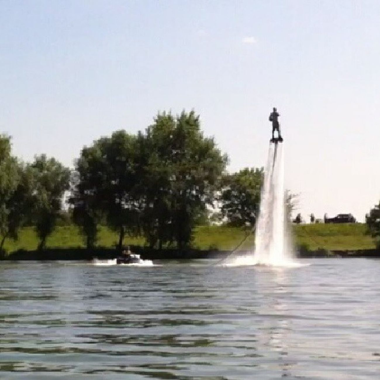 Flying Man Jetski River Tisza Summer Flyingman Water Noeffect Withouteffect
