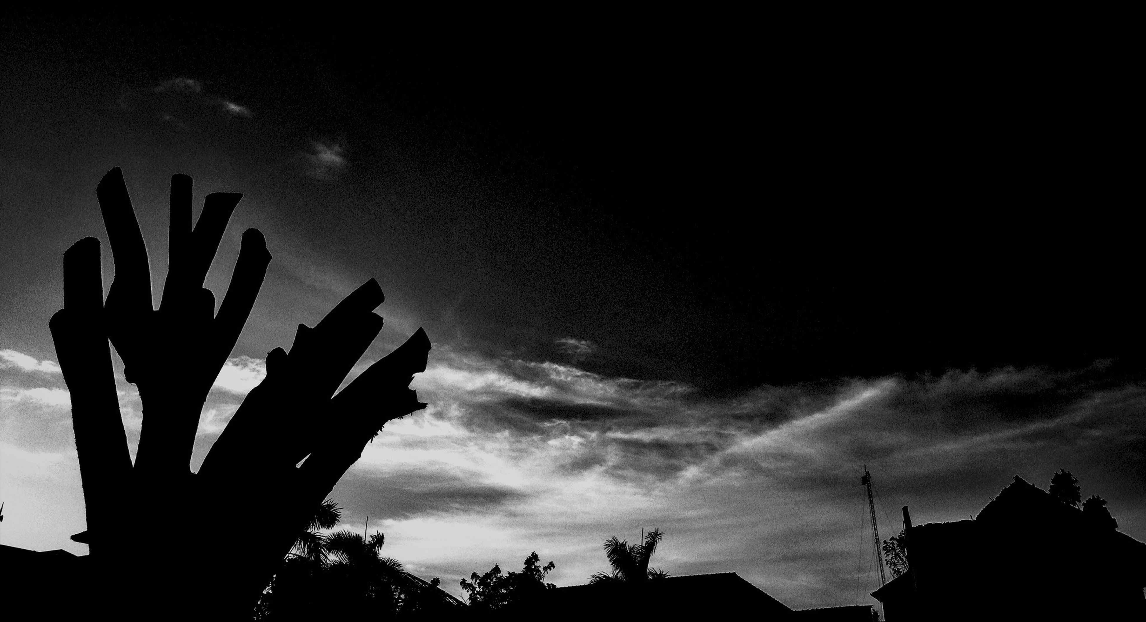 silhouette, low angle view, sky, cloud - sky, dusk, built structure, cloudy, cloud, architecture, building exterior, nature, high section, tree, overcast, outdoors, beauty in nature, dark, weather, no people, outline