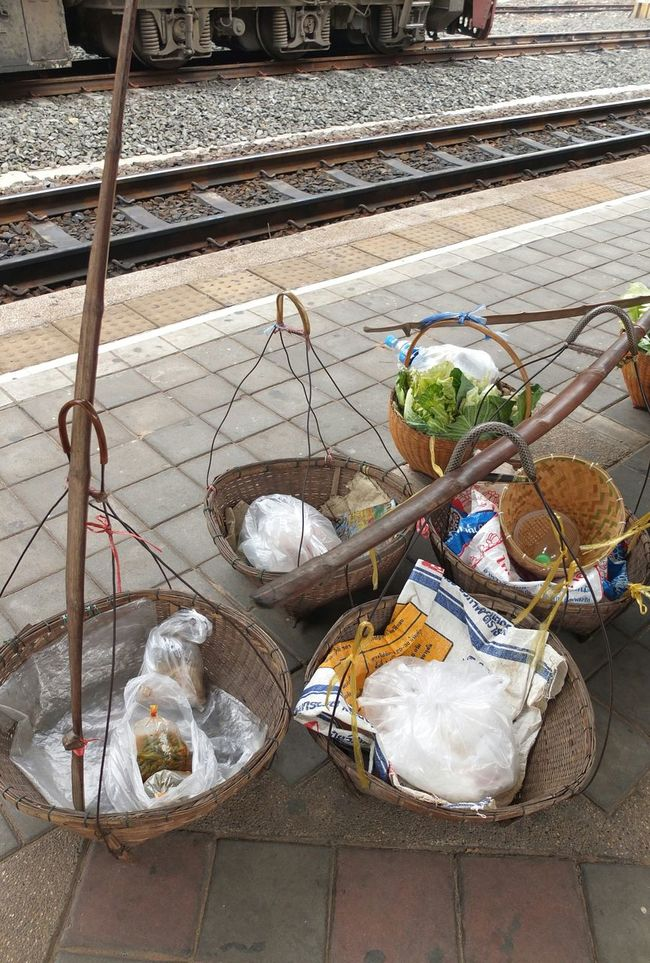 Carry On Sholder Pole Bamboo Basket Thailand Train Station Nongkhai Spotted In Thailand