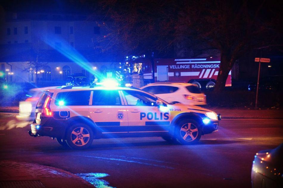 Police Polis Firedepartment Sweden Malmö Malmö Sverige Night Car Volvo Nikon D5300 Nikonphotography Amature