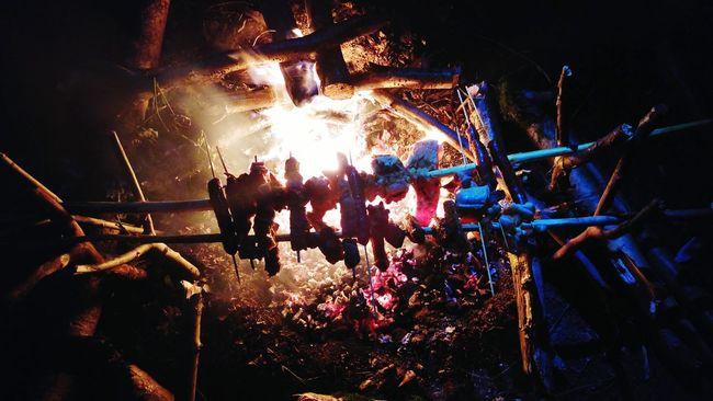 Campfire Bivouac Manvswild Firelight Meat Nature Embers