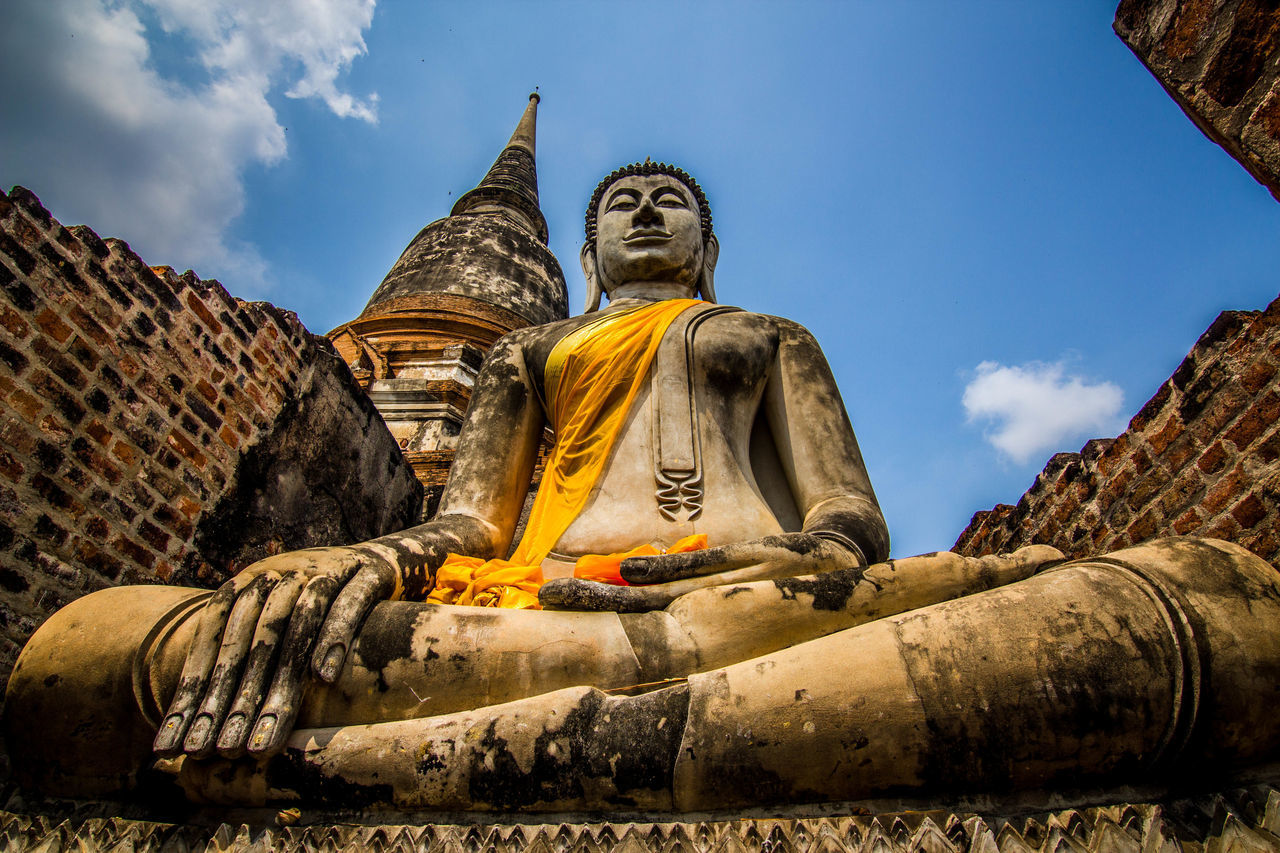 Outdoors Sky Ancient Civilization Religion Merit Making Lord Buddha Statue Low Angle View Buddhist