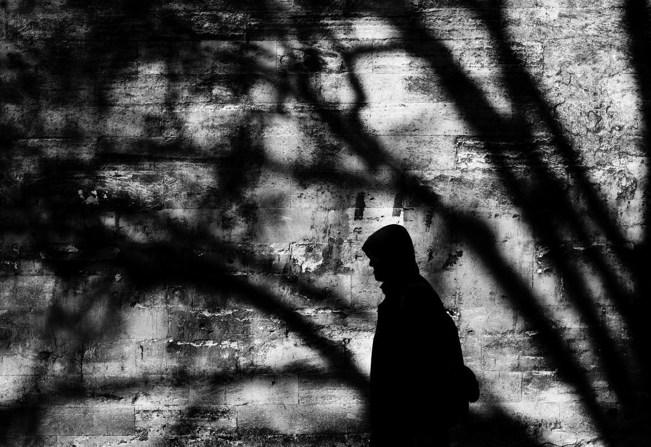 Focus On Shadow Shadow Sunlight Silhouette One Person Tree Blackandwhite Siyahbeyaz Street Photography Sokakfotografi Türkiye Turkey Istanbul Suleymaniye