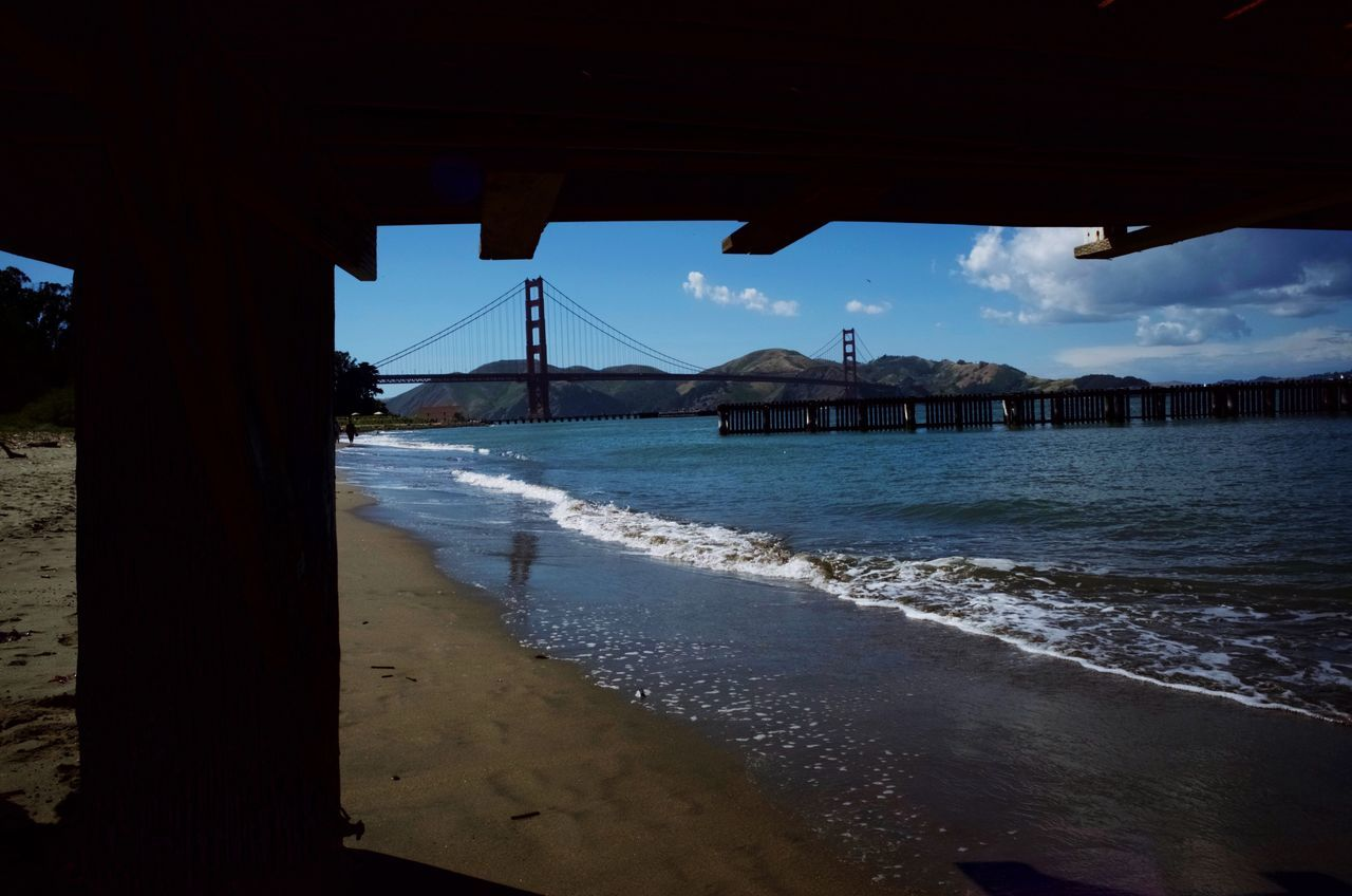 Sea Water Beach Shore Sky Nature Beauty In Nature Scenics Day Sand Outdoors Tranquil Scene No People Cloud - Sky Tranquility Wave Mountain Nautical Vessel Architecture San Francisco Bay Area Seaside Sea And Sky Golden Gate Bridge Beauty In Nature