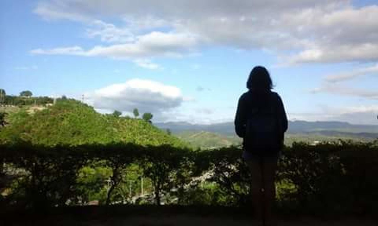 rear view, cloud - sky, one person, sky, standing, silhouette, one woman only, women, only women, tree, outdoors, adult, adults only, nature, day, full length, scenics, beauty in nature, one young woman only, people, young adult