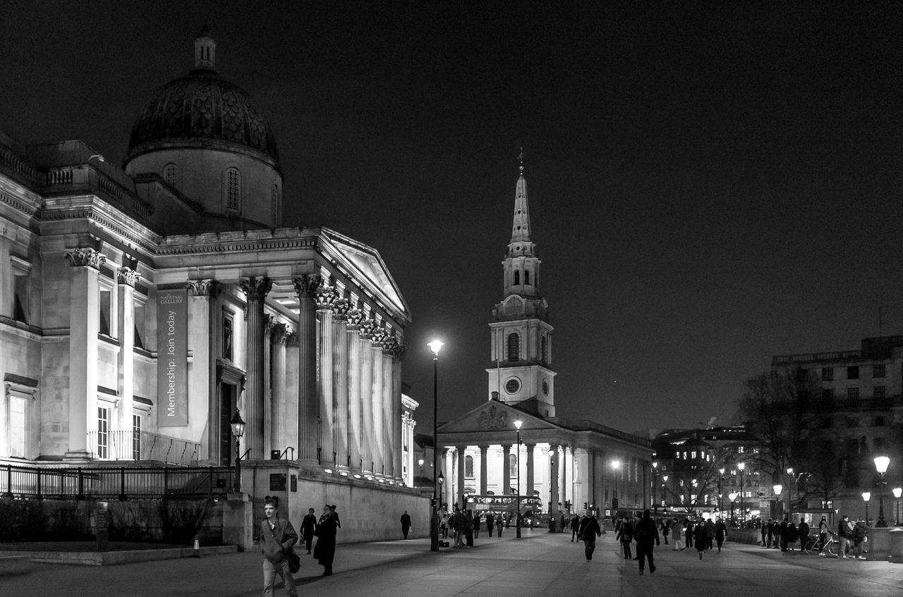 architecture, built structure, building exterior, religion, place of worship, travel destinations, spirituality, dome, illuminated, travel, large group of people, tourism, night, real people, history, sky, men, outdoors, clear sky, city, people
