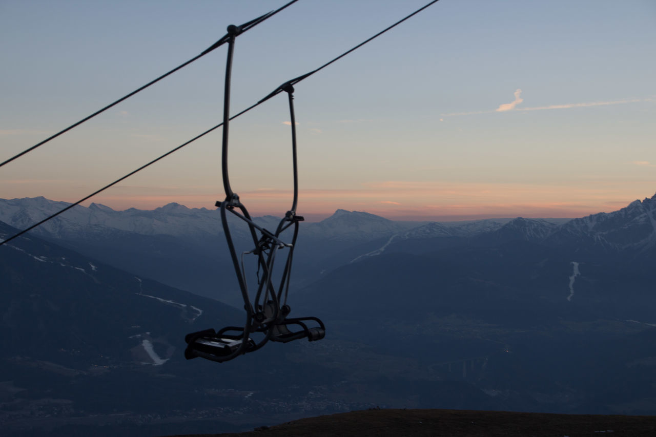 mountain, sunset, nature, sky, mountain range, cable, beauty in nature, scenics, overhead cable car, tranquil scene, no people, outdoors, tranquility, transportation, landscape, ski lift, day