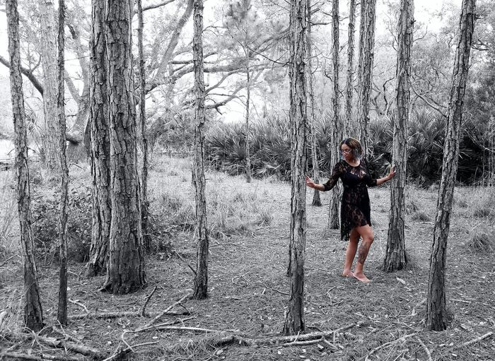 On A Hike In The Forest Lace Dress Among The Trees Pine Trees Color Splash Self Portrait