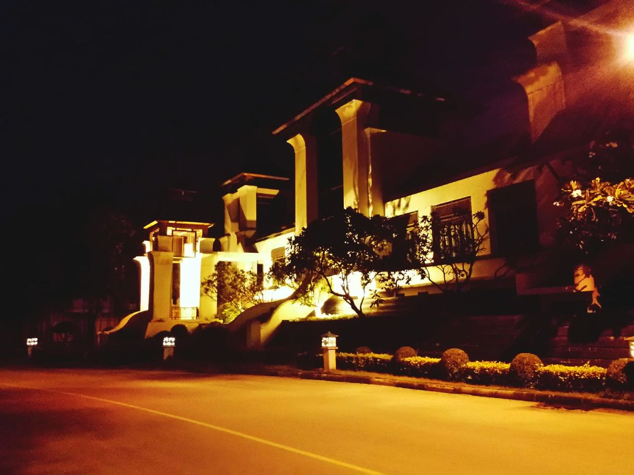 Architecture in Lighting : Night,Villa, Building Exterior Outdoors Sky Monument Coconut Palm Tree In Front Of ,Taling Chan Thailand.