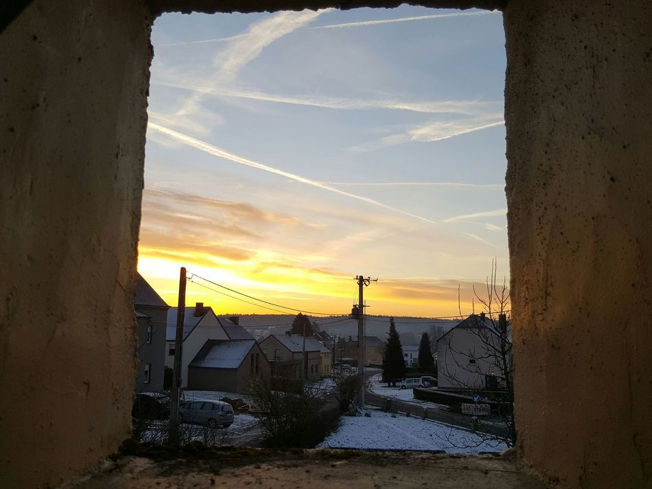 By my window Window View Sunrise Winter Sky Winter Landscape Capturing The Moment Colorful Natural Beauty Nature On Your Doorstep No People Frozen Nature Perpective Framing The View Inside Outside Beauty In Nature Frozen Surface Winter Trees Seasonal Photography