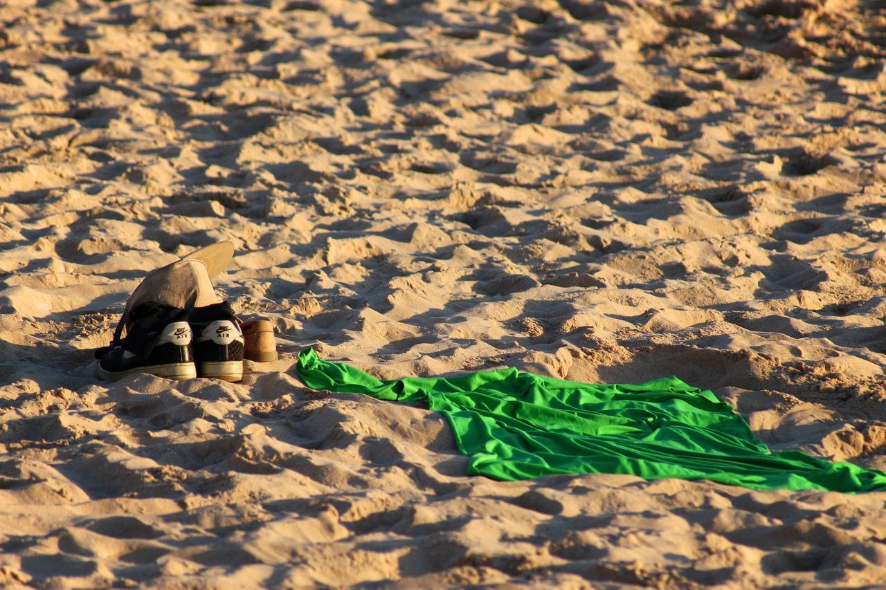 Beach Beauty In Nature Close-up Detail Empty From My Point Of View Golden Hour Green Light And Shadow Live For The Story Minimal Minimalism Minimalist Nature No People Outdoors Perspective Sand Sand Dune Shadow Shoes Sunlight Sunset The Great Outdoors - 2017 EyeEm Awards Towel
