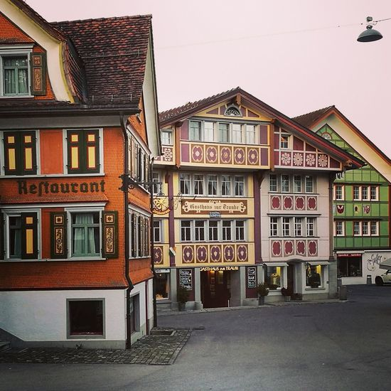 Appenzell Swiss Swisstravel Appenzell Village Colours And Patterns Architecture Building Exterior Built Structure Window House Tranquility Switzerlandwonderland Swisslife Lovemycountry Lotsofcolor Colors Houses And Windows Travel Destinations Streets