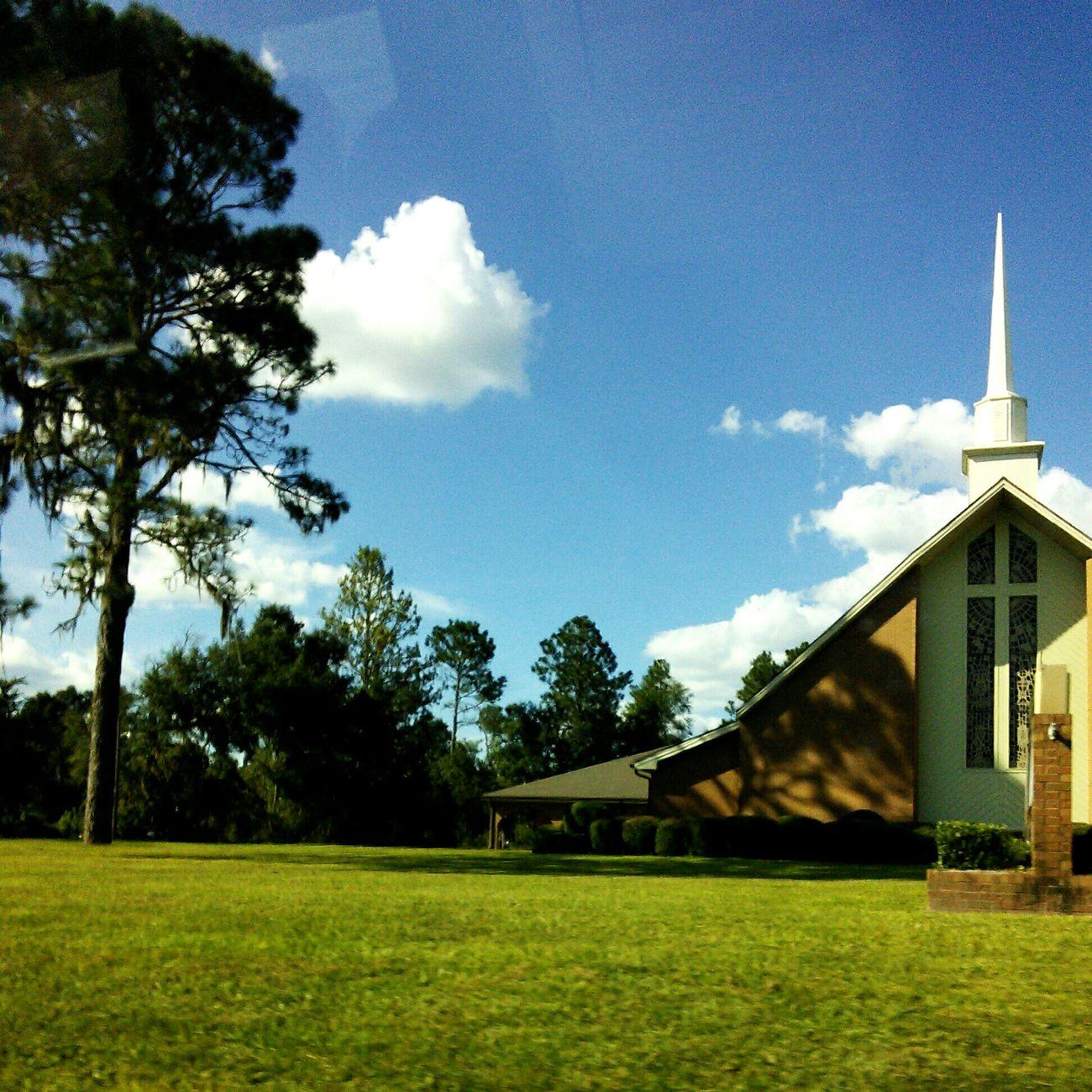 Blue Clouded Skies Church Steeple Trees🌳🌲🌳