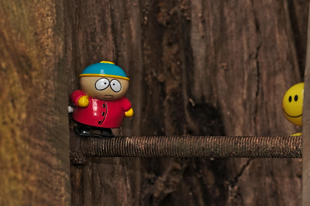 follow me Adventures Best Friends Cartman Close-up Figurines  Focus On Foreground Hollow Tree Iron Bar Nikon No People Outdoor Photography Plastic Red Lips Scary Places Selected Focus Selective Focus Smily Southpark Still Life Today's Hot Look Toy Adventures Wood Yellow