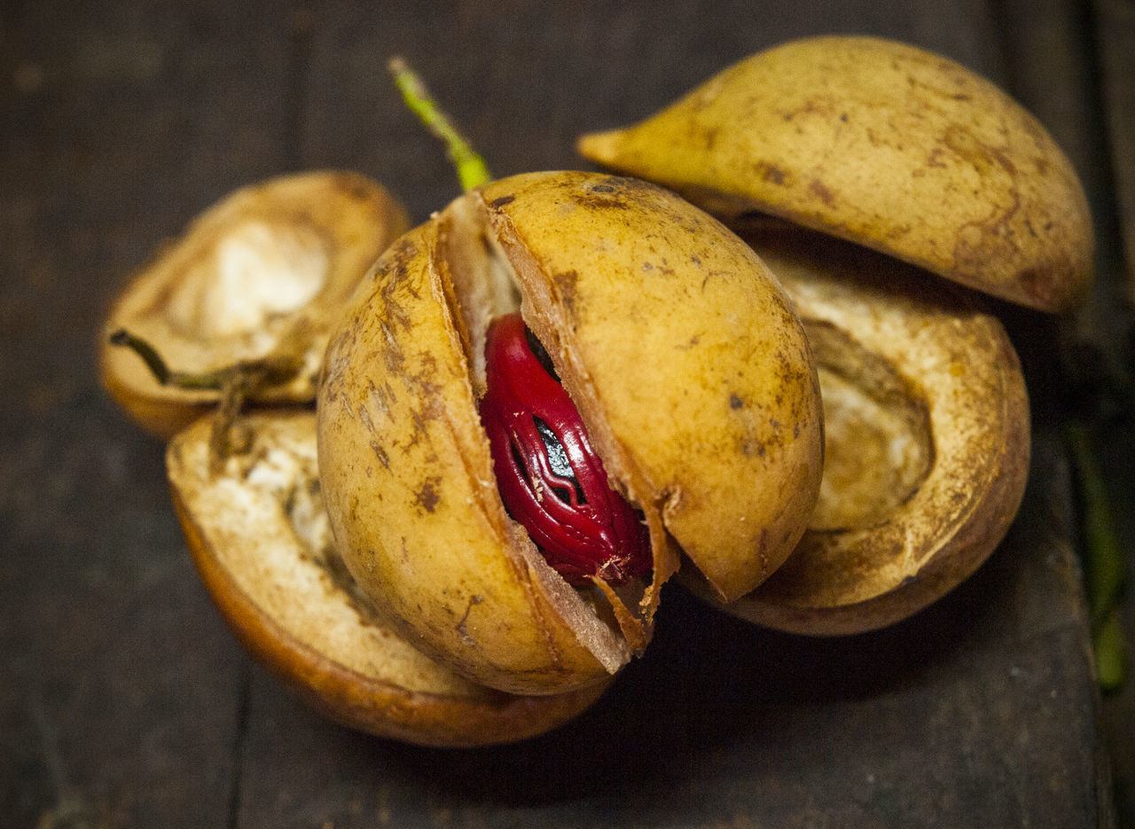Nutmeg pods. Nutmeg and mace come from the fruit of the aromatic Myrristica fragrans tree. St. George's. Grenada Carribean Close-up Cyclone Freshness George's. Grenada Myrristica Fragrant Tree Nutmeg Nutmeg Pod Nutmeg Tree Traveling