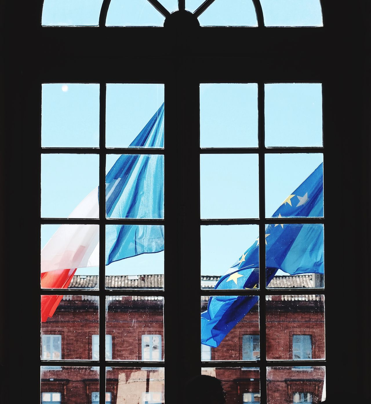 France, Europe. Transparent Window Glass - Material Flag French Flag European Flag Blue Indoors  Day Architecture Built Structure Sky No People Close-up
