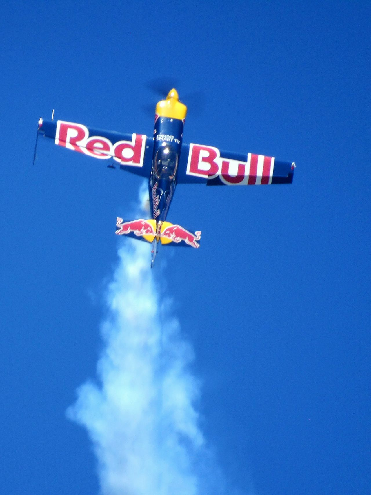 Low Angle View Blue Sky Arts Culture And Entertainment No People Outdoors Day Clear Sky Plane Aerobatics