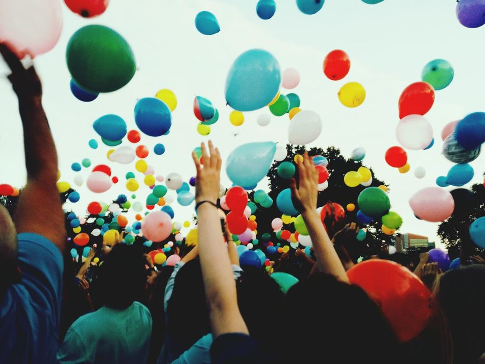 Beautiful stock photos of team, Arms Raised, Balloon, Celebration, Colorful