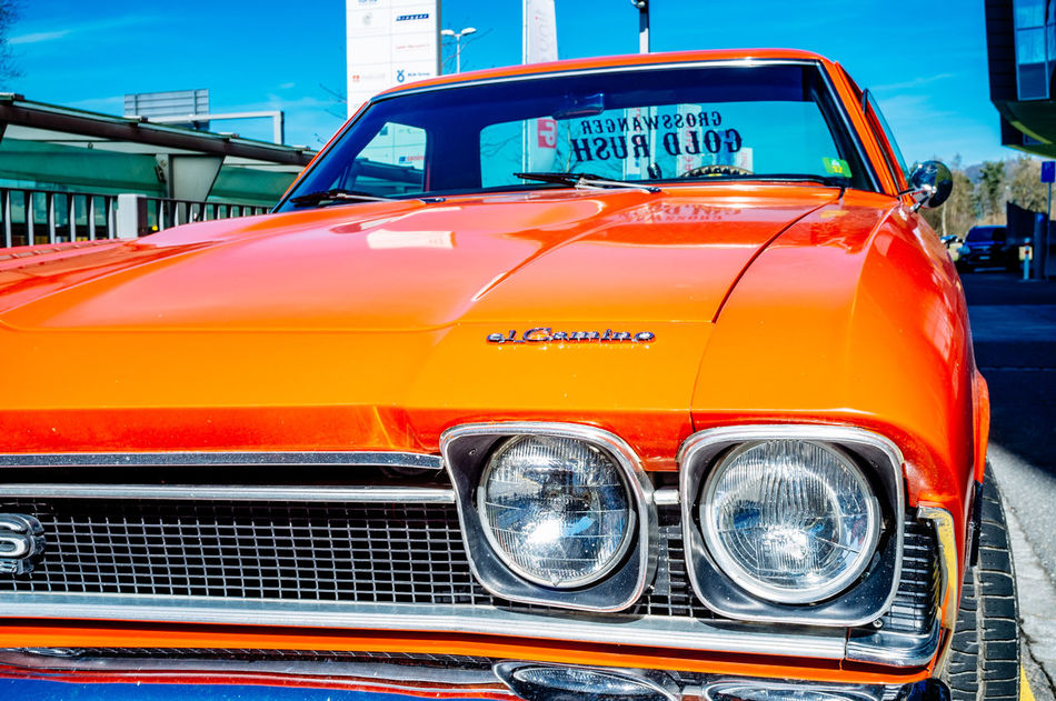 Chevrolet City Collector's Car Day El Camino No People Old-fashioned Outdoors Red Shiny Text Transportation Yellow