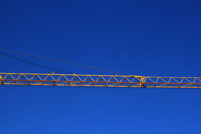 Blue Clear Sky Construction Crane Day Fiè Allo Sciliar Italy Long No People Outdoors Summer 2016 Südtirol Yellow